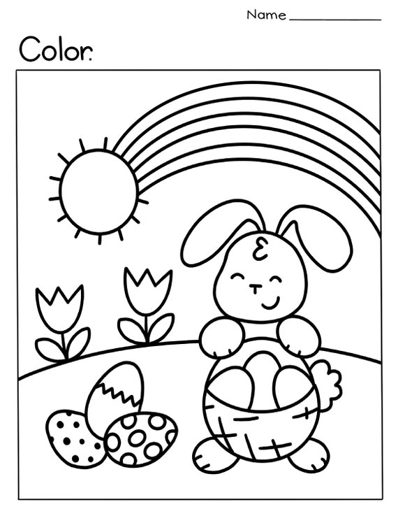 Easter/Spring Coloring Page Etsy