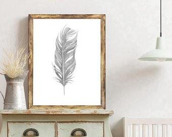 Feather Print, Minimalist Feather Print, Feather Art, Nature Wall Art, Grey Feather Art, Modern Art Print