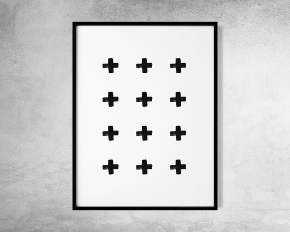 image about Printable Cross Pattern referred to as Cross Habit Print, Minimalist Practice Artwork, Black and White, Monochrome Artwork, Scandinavian Artwork, Minimalist Printable, Crosses Printable