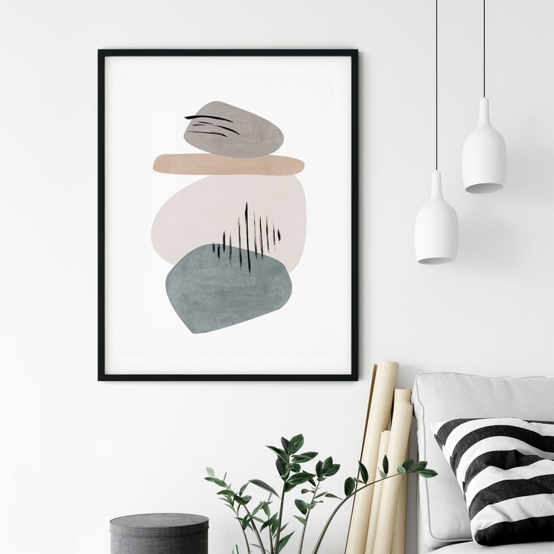 Bedroom Decor Abstract Geometry Contemporary Art Mid Century Modern Geometric Art Print Large Wall Art Beige Abstract