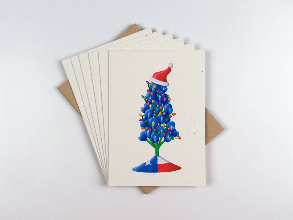 Christmas Texas Bluebonnet Set of 6 Greeting Cards Colored | Etsy