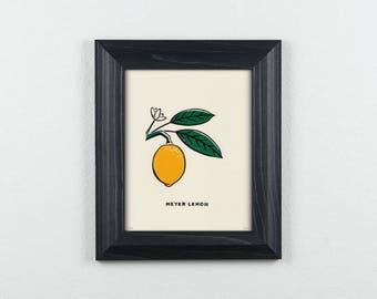Meyer Lemon Original Block Print | Limited Edition | Linocut | Illustration | 8x10