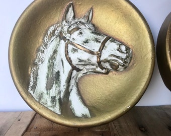 Horse Relief Chalkware Gold Painted Horse Plaques Wall Hangings