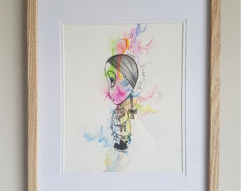 Girl and Her Dolly, Framed art, original water colour-chroma collection.