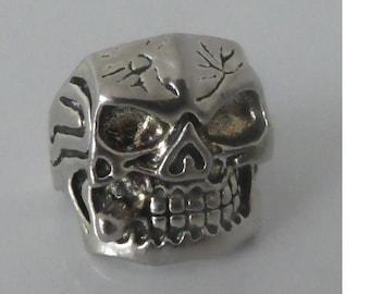 Vintage Smoking Silver Skull Ring 925 stamp. Biker Rocker Punk