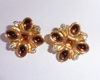 Gold plated amber and Rhinestone earrings preloved