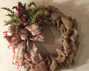 Burlap Christmas wreath with pinecones and rustic Christmas ribbon