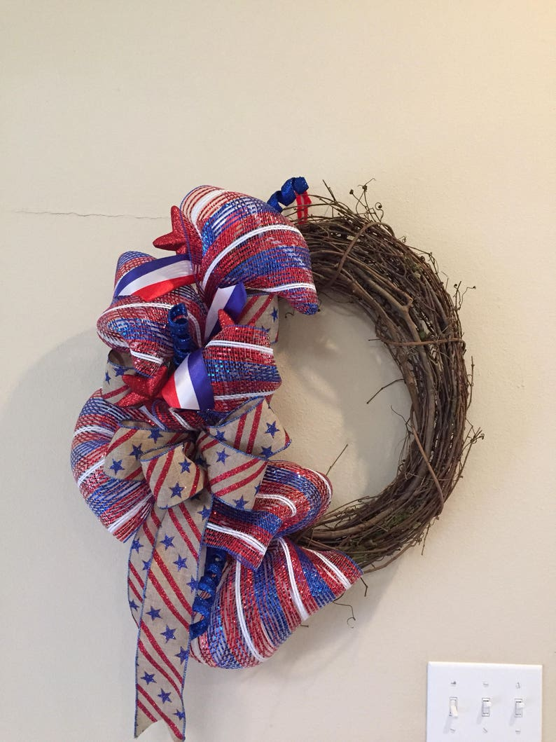 Red white and blue wreath 4th of july wreath Patriotic grapevine wreath