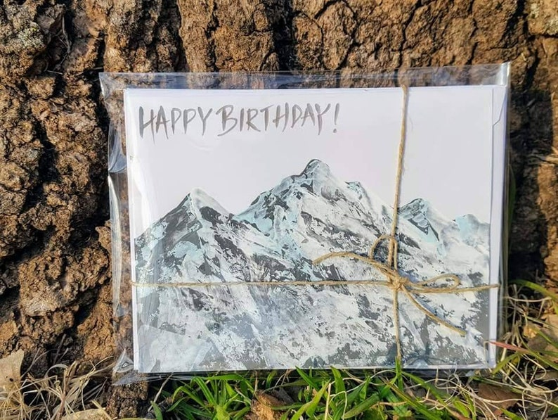 birthday card for man or woman hand painted mountain cards Happy Birthday Mountain hand painted 5 pack of greeting cards happy birthday