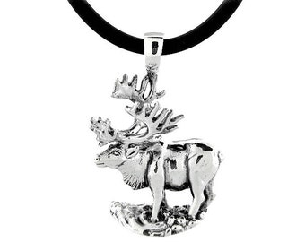 Silver Wildlife Wildlife Jewelry Caribou Jewelry Animal Jewelry Handcrafted Sterling Silver Caribou Pendant with a Black Cord Necklace