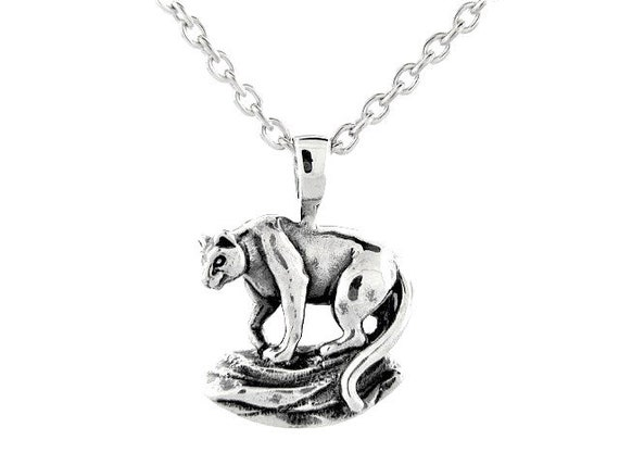 Sterling Silver Cougar Puma Panther Mountain Lion Profile Head Pendant