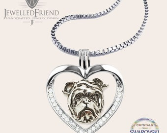 English bulldog jewelry necklace pendant with swarovski crystal-Sterling Silver-Personalized Pet Necklace-Dog lover gift-Pet Memorial