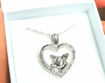 Chihuahua jewelry necklace pendant with swarovski crystal -Sterling Silver-Personalized Pet Necklace-Dog lover gift-Custom Dog Necklace