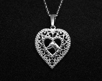 Greyhound head in heart jewelry pendant