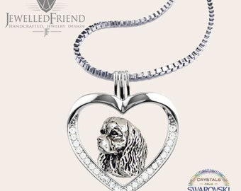 Cavalier king charles spaniel jewelry necklace pendant with swarovski crystal -Sterling Silver-Personalized Pet Necklace-Dog lover gift
