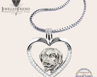 Golden retriever jewelry pendant with swarovski crystal -Sterling Silver Dog jewelry Necklace-Personalized Pet Necklace