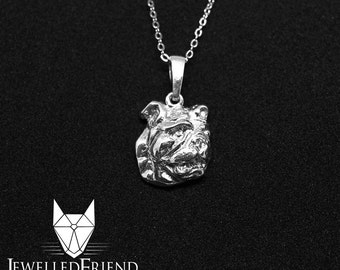English Bulldog jewelry necklace pendant-Sterling Silver-Personalized Pet Necklace-Dog lover gift-Pet Memorial