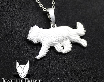 Berger de Brie, Briard jewelry pendant-Sterling Silver-Personalized Pet Necklace-Dog lover gift-Custom Dog Necklace-Pet Memorial Gift