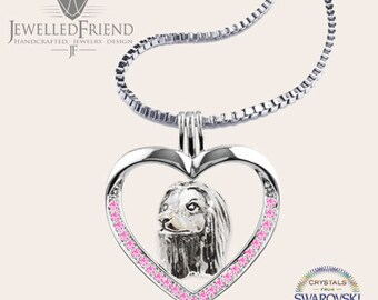 Afghan hound jewelry necklace pendant with swarovski crystal-Sterling Silver-Personalized Pet Necklace-Dog lover gift-Pet Memorial