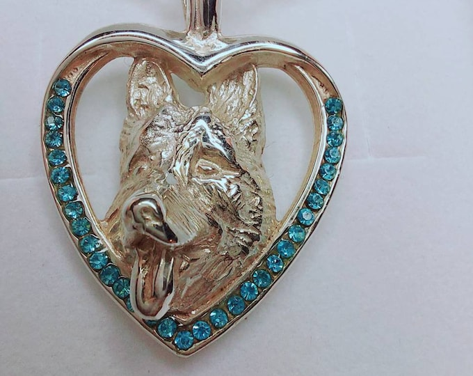 Featured listing image: German Shepherd jewelry pendant with swarovski crystal -Sterling Silver Dog jewelry Necklace-Personalized Pet Necklace