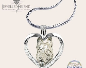 German Shepherd jewelry pendant with swarovski crystal -Sterling Silver Dog jewelry Necklace-Personalized Pet Necklace