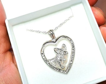 Welsh Corgi jewelry necklace pendant with swarovski crystal- sterling silver - Custom Dog Necklace - Pet Memorial Gift-Dog Gift