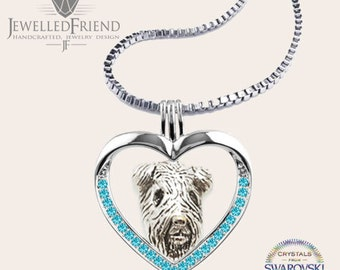 Airedale terrier jewelry necklace pendant with swarovski crystal-sterling silver-Custom Dog Necklace-Pet Memorial Gift-Dog Mom Gift-Pet