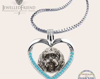 Maltese jewelry necklace pendant with swarovski crystal-Sterling Silver-Personalized Pet Necklace-Dog lover gift-Pet Memorial