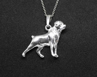 Rottweiler jewelry pendant-Sterling Silver-Personalized Pet Necklace-Dog lover gift-Pet Memorial