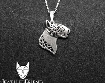 Bull terrier jewelry pendant-Sterling Silver-Personalized Pet Necklace-Dog lover gift-Custom Dog Necklace-Pet Memorial Gift
