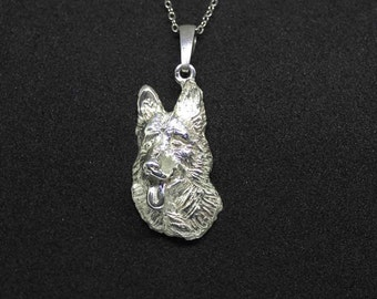 German shepherd jewelry pendant with-Sterling Silver-Personalized Pet Necklace-Dog lover gift-Pet Memorial