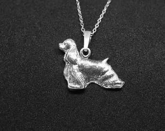 American cocker spaniel jewelry pendant - sterling silver - Custom Dog Necklace - Pet Memorial Gift - Dog Mom Gift - Pet jewellery