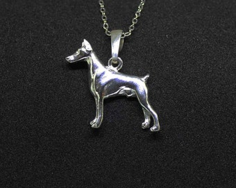Doberman jewelry necklace pendant with-Sterling Silver-Personalized Pet Necklace-Dog lover gift-Pet Memorial