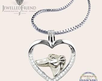 Greyhound jewelry necklace pendant with swarovski crystal