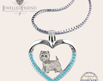 Westie jewelry necklace pendant with swarovski crystal-Sterling Silver-Personalized Pet Necklace-Dog lover gift-Pet Memorial