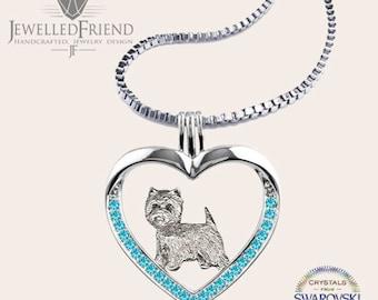 Westie jewelry necklace pendant with swarovski crystal