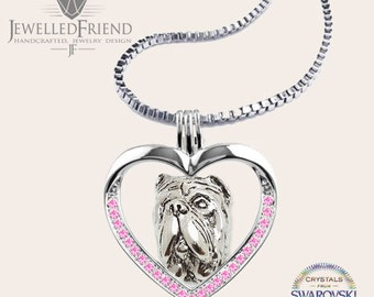 Neapolitan mastiff jewelry necklace pendant with swarovski crystal-Sterling Silver-Personalized Pet Necklace-Dog lover gift-Pet Memorial