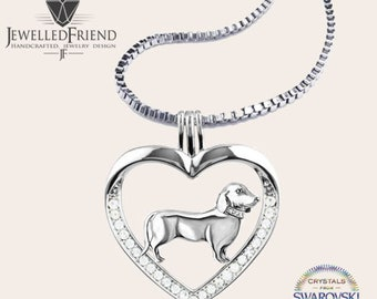 Dachshund jewelry necklace pendant with swarovski crystal-Sterling Silver-Personalized Pet Necklace-Dog lover gift-Custom Dog Necklace