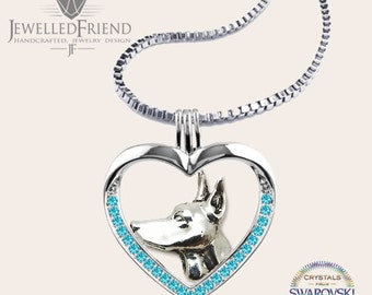 Doberman jewelry necklace pendant with swarovski crystal-Sterling Silver-Personalized Pet Necklace-Dog lover gift-Pet Memorial