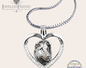 Australian Shepherd jewelry necklace pendant with swarovski crystal-sterling silver-Custom Dog Necklace-Pet Memorial Gift-Dog Mom Gift