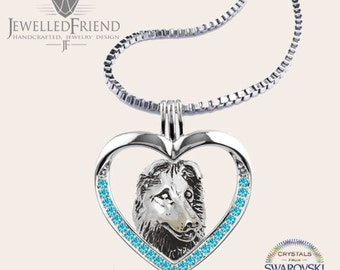 Collie jewelry pendant with Swarovski crystal-Sterling Silver-Personalized Pet Necklace-Dog lover gift-Custom Dog Necklace-Pet Memorial Gift