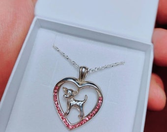 Chihuahua jewelry necklace pendant with swarovski crystal-sterling silver-Custom Dog Necklace - Pet Memorial Gift - Dog Mom Gift-Pet