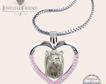 Yorkie jewelry necklace pendant with swarovski crystal-Sterling Silver-Personalized Pet Necklace-Dog lover gift-Pet Memorial