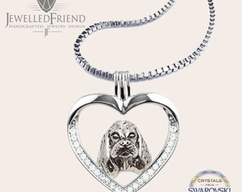 American cocker spaniel jewelry necklace pendant with swarovski crystal- sterling silver - Custom Dog Necklace - Pet Memorial Gift-Dog Gift