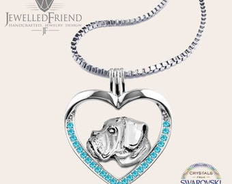 Boxer dog jewelry necklace pendant with swarovski crystal-Sterling Silver-Personalized Pet Necklace-Dog lover gift-Custom Dog Necklace-Pet