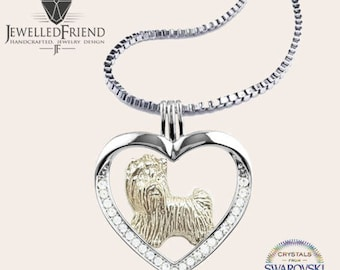 Yorkshire terrier jewelry necklace pendant with swarovski crystal- sterling silver - Custom Dog Necklace - Pet Memorial Gift- Pet jewellery