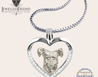 Chinese Crested dog jewelry necklace pendant with swarovski crystal -Sterling Silver-Personalized Pet Necklace-Dog lover gift-Dog Necklace
