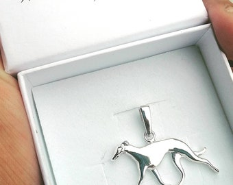 Greyhound jewelry pendant-Sterling Silver-Personalized Pet Necklace-Dog lover gift