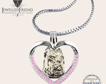 Cane corso jewelry necklace pendant with swarovski crystal-Sterling Silver-Personalized Pet Necklace-Dog lover gift-Pet Memorial