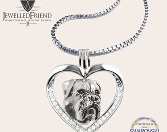 Bullmastiff jewelry necklace pendant with swarovski crystal-Sterling Silver-Personalized Pet Necklace-Dog lover gift-Pet Memorial